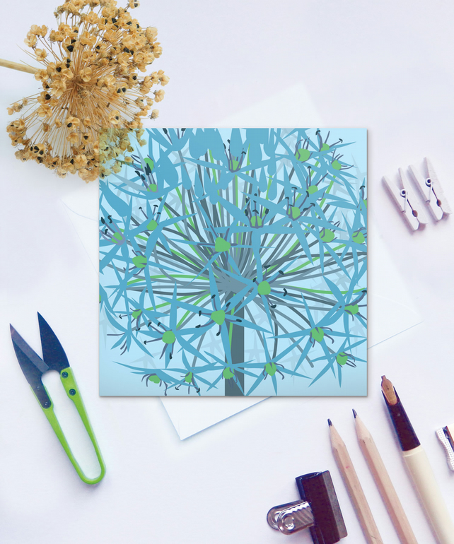 Winter Allium Card - winter garden