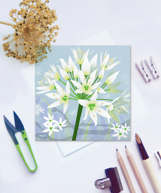 Woodland Allium Card - Spring, Wild Garlic, Floral