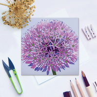 Purple Allium Card - flower, floral, for gardeners