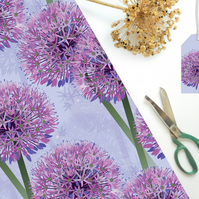 Purple Allium Gift Wrapping Paper - Single Sheet, eco friendly, recyclable