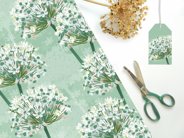 White Allium Gift Wrapping Paper - Single Sheet, eco friendly, recyclable