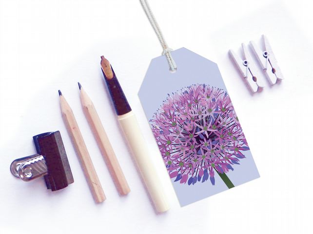 Purple Allium Gift Tags - pack of six tags