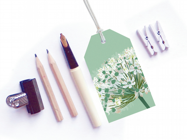 White Allium Gift Tags - pack of six tags