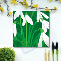 Snowdrops Card - Spring, birthday, for gardeners