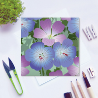 Geraniums Card - Summer, floral, blank card