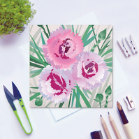 Pinks Card - Dianthus, Summer, floral, blank card