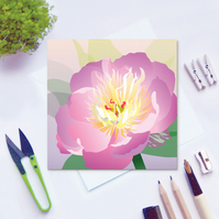 Pink Peony Card - Summer, floral, blank card