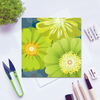 Zinnias Flower Card - birthday, chartreuse, floral