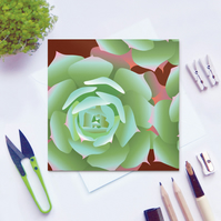 Houseleek Sempervivum Card - Summer, floral, blank card