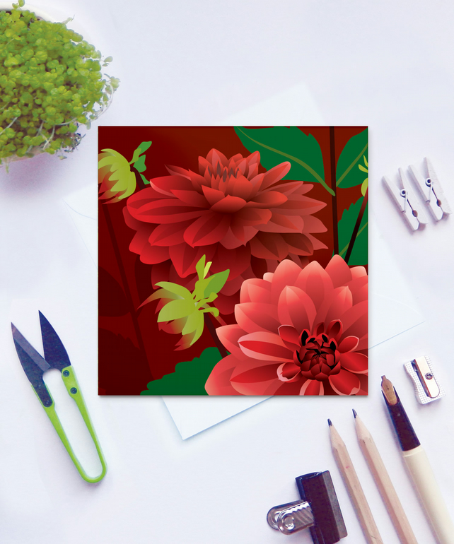 Dahlia Card - flower, birthday, summer