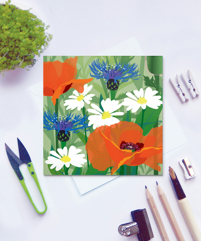 Poppy card - wildflower, meadow, remembrance