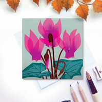 Cyclamen Card - birthday, hot pink, Mothers Day