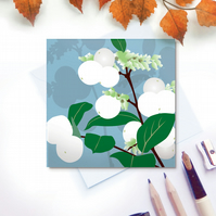 Snowberries Card - white, winter garden, for gardeners