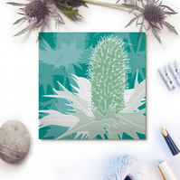 Sea Holly card - seaside, coast, for gardeners