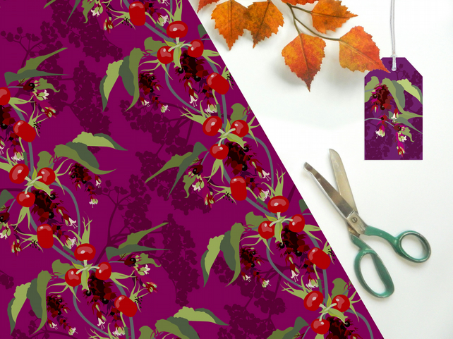 Pheasant Berry Gift Eco Wrapping Paper - single folded sheets, matching tag