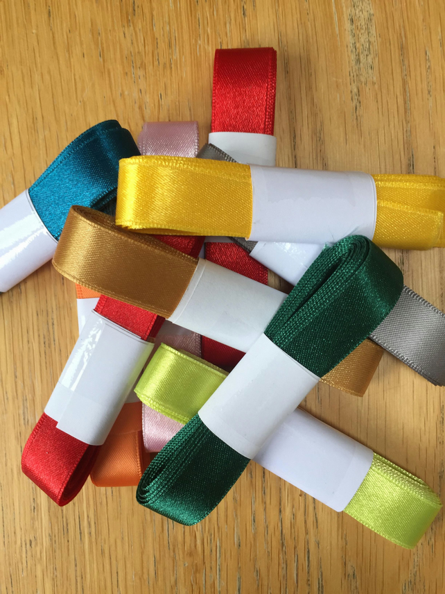 SALE - 2m bundles of 16mm satin ribbon (10 bundles)