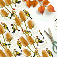 Goldfinch Gift Wrap - British Bird, Eco Friendly, Compostable
