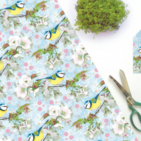 Bluetit & Cherry Blossom Gift Wrap - British Bird, Eco Friendly, Compostable