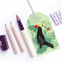 Blackbird and Strawberries Gift Tags - British Birds, pack of six tags