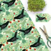 Blackbird and Strawberries Gift Wrap - British Bird, Eco Friendly, Compostable
