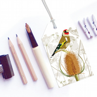 Goldfinch with Teazles Gift Tags - British Birds, pack of six tags