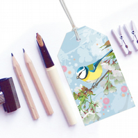 Bluetit with Cherry Blossom Gift Tags - British Birds, pack of six tags
