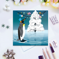 Party Penguin Christmas Card - King Penguin