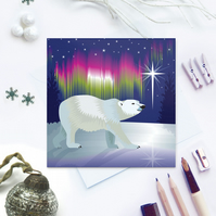 Arctic Woodland Polar Bear Christmas Card - sustainable, recyclable