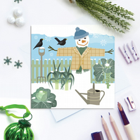 Winter Allotment Snowman Christmas Card - sustainable, recyclable
