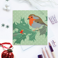 Robin and Holly Christmas Card - British Bird, eco friendly