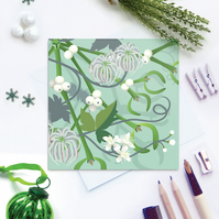 Mistletoe & Old Man's Beard Christmas Card - sustainable, recyclable