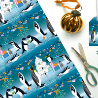 Penguin Christmas Gift Wrap - Eco Friendly, Compostable Paper
