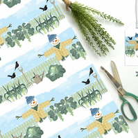 Winter Allotment Snowman Christmas Gift Wrap - Eco Friendly, Compostable Paper