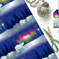 Polar Bear and Northern Lights Christmas Gift Wrap - Eco Friendly, Compostable