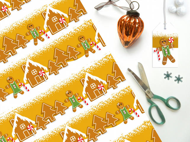 Gingerbread Man Christmas Gift Wrap - Eco Friendly, Compostable Paper