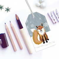 Winter Fox Christmas Gift Tags - Eco Friendly, Compostable
