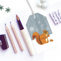 Winter Squirrel Christmas Gift Tags - pack of six tags