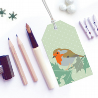 Robin & Holly Christmas Gift Tags - Eco Friendly, Compostable