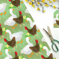 Hen and Goose Gift Wrapping Paper - Easter, Spring, Farm, Eco Friendly