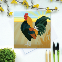 Cockerel Card - Easter, farm, poultry, birthday