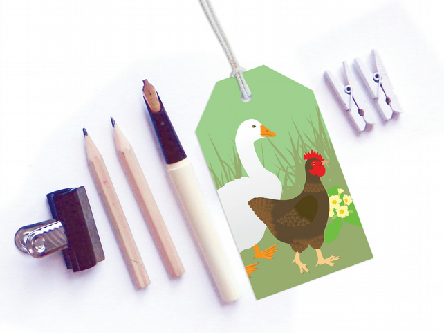 Hen & Goose Gift Tags - Easter, Spring tags, six tags