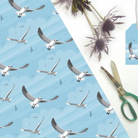 Flying Seagulls Gift Wrapping Paper - British seaside, eco friendly