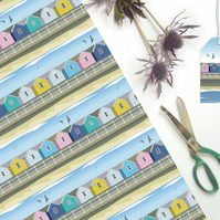 Beach Hut Gift Wrapping Paper - British seaside, eco friendly