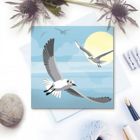 Flying Seagulls Card - seaside, summer, birthday
