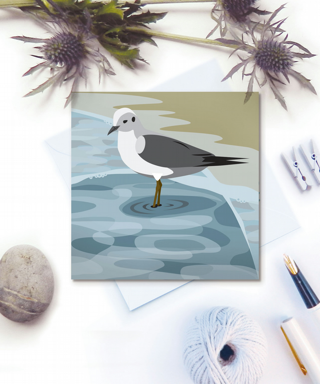 Wading Seagulls Card - seaside, birthday, Fathers Day