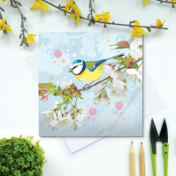 Bluetit Card - British Bird, Eco Friendly, FSC card, Blank inside