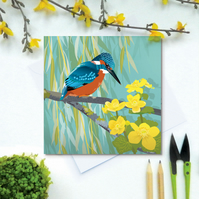 Kingfisher Card - British Bird, Eco Friendly, FSC card, Blank inside