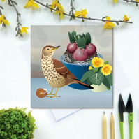Song Thrush Card - British Bird, Eco Friendly, FSC card, Blank inside