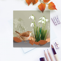 Wren Card - British Bird, Christmas, Snowdrops, Eco Friendly