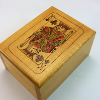 Playing card box with cards (Pyrography)